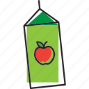 apple, box, drink, fresh, fruit, juice icon
