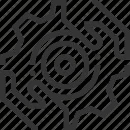 adjust, gear, hands, optimization, turn icon