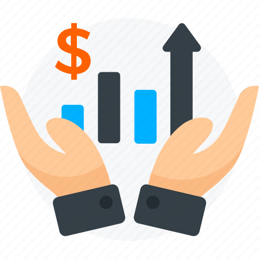 business growth, finance, graph, growth, hand, money icon icon