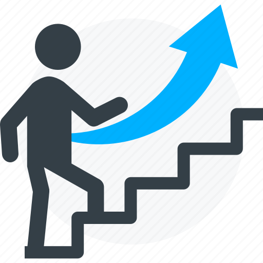 career, executive, promotion, stairs, up, work icon icon