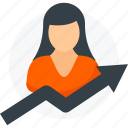 analytics, arrow, business, growth, report, statistics, woman icon icon