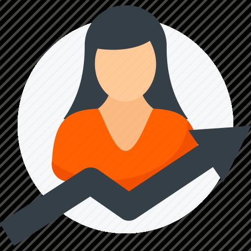 analytics, arrow, business, growth, report, statistics, woman icon icon