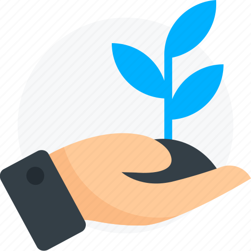 business startup, growth, hand, leaf icon icon