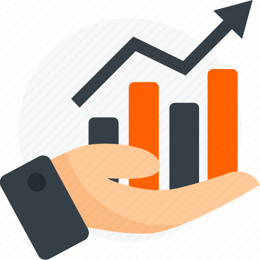 chart, financial, growth, hand, investment, statistics icon icon