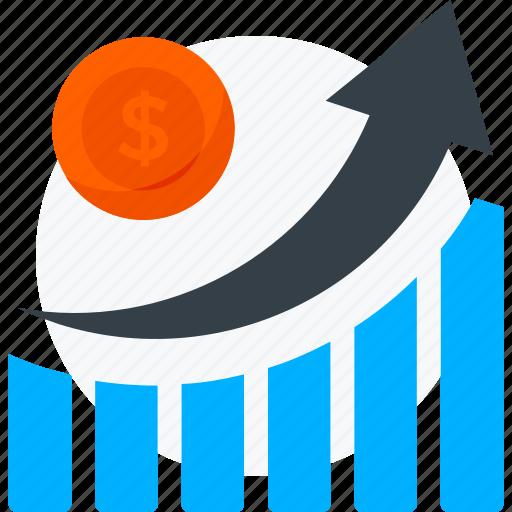 analytics, dollar, growth, income, money icon icon