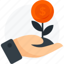 business startup, dollar, financial growth, growth, hand, leaves, money growth, startup icon icon