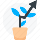 arrow, growth, house plant, increase, irrigation, natural, plant, potted plant icon, up icon