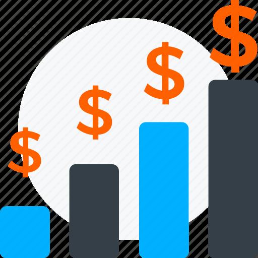 business, dollar rise, growth, hike, improvement, money growth, profit, success icon icon