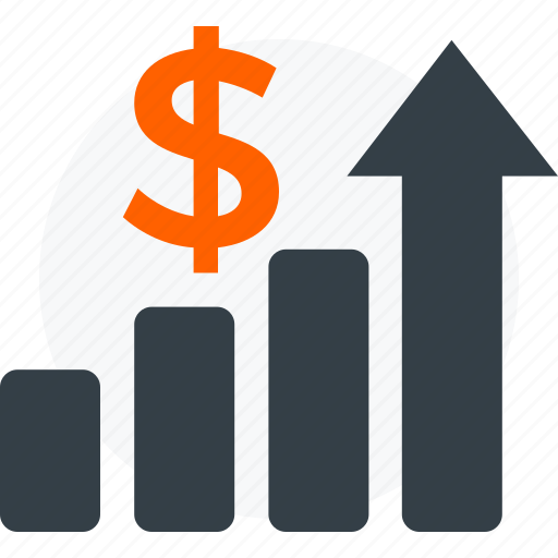 business, coin, doller, growth, improvement, profit, rise, success icon icon
