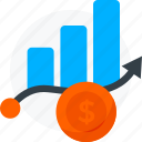business, coin, doller, growth, hike, improvement, profit, rise, success icon icon