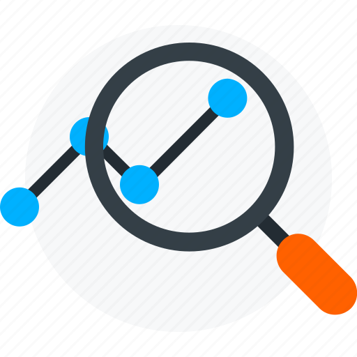 chart, explore, growth, magnifier, marketing, view icon icon