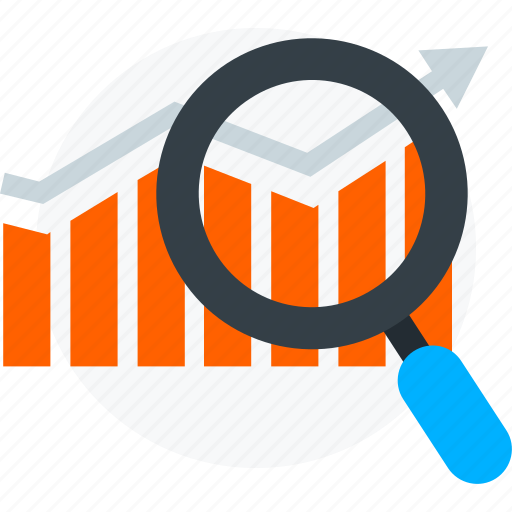 graph and magnifier, growth graph, magnifier, magnifier with growth chart, view chart icon icon