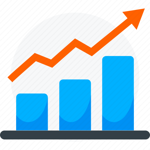 arrow, banking, chart, growth, increase, material, trend icon icon