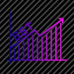 analysis, graph, gst, increase, tax icon