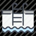 pool, swimming, water, ladder