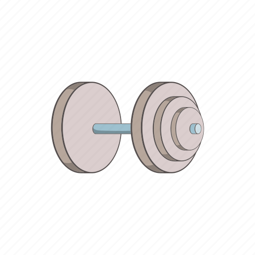 cartoon, dumbbell, equipment, exercise, gym, heavy, sign icon