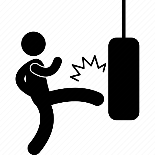 bag, kickboxer, kickboxing, kicking, man, sand, sandbag icon