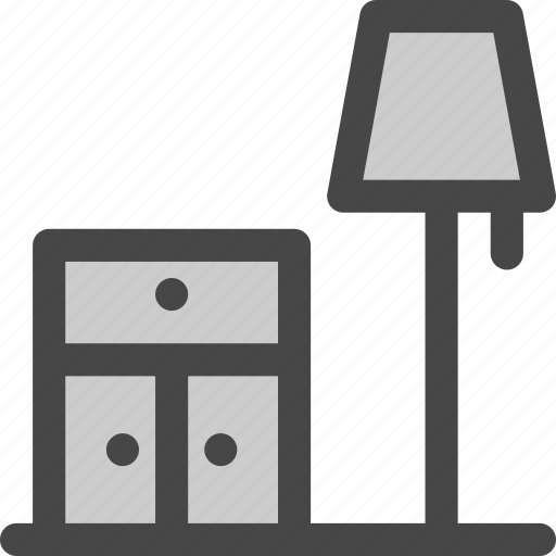 bedroom, cabinet, drawer, floor, furniture, lamp, nightstand icon