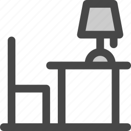 chair, desk, furniture, lamp, light, reading, table icon