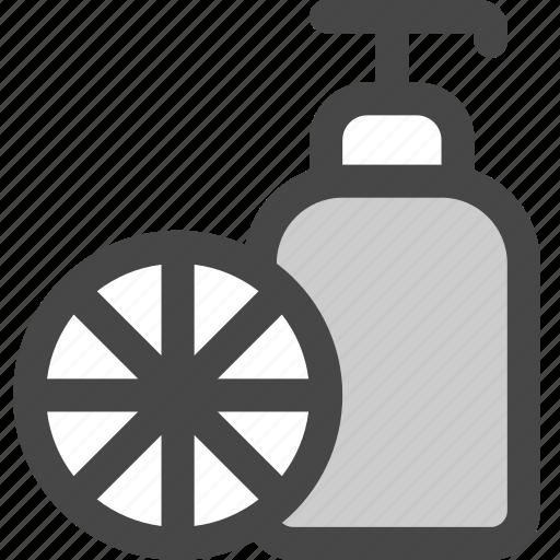 bathroom, citrus, dispenser, fruit, lotion, shampoo, soap icon