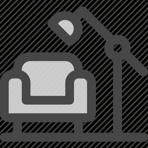 armchair, coach, cozy, furniture, lamp, living room, sofa icon