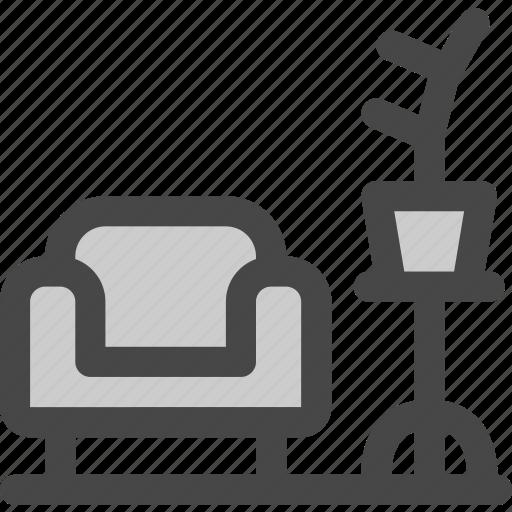 armchair, coach, cozy, furniture, living room, plant, sofa icon