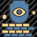 brick, eye, shield, wall