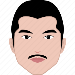 asian, face, hairstyle, head, male, man, mustache icon