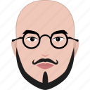 bald, beard, face, glasses, hairstyle, man, professor