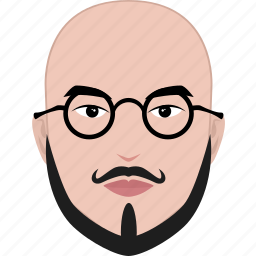 bald, beard, face, glasses, hairstyle, man, professor icon