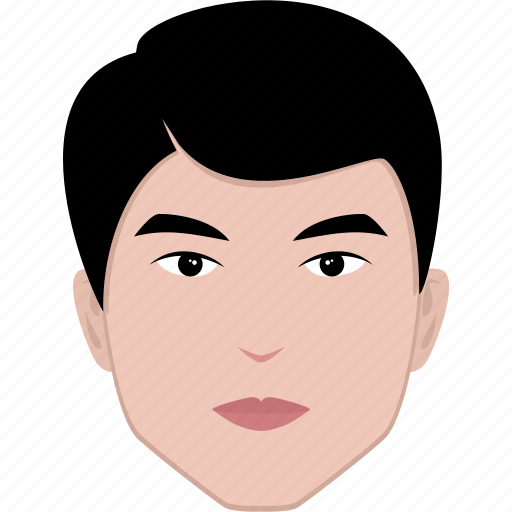 asian, face, hairstyle, head, male, man, shape icon