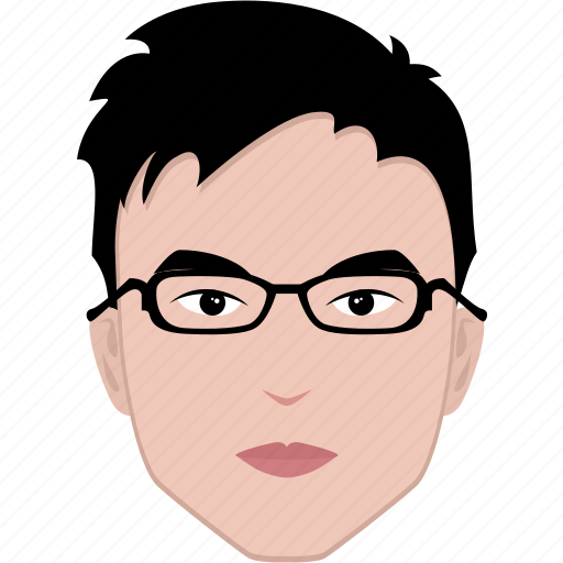 asian, boy, face, glasses, hairstyle, man, student icon