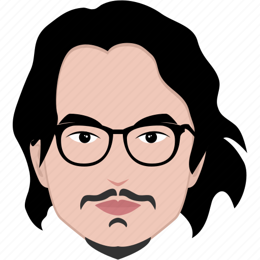 glasses, hair, hairstyle, long, man, mustache, spectacle icon