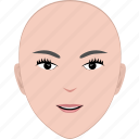 bald, face, female, girl, hairstyle, no hair, woman icon
