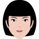 avatar, cartoon, face, hair, hairstyle, short, woman icon