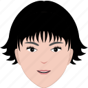 face, female, hair, hairstyle, head, short, woman icon