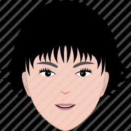 face, female, hair, hairstyle, head, short, woman icon