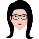 face, girl, glasses, hairstyle, office, spectacle, woman icon