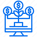 business, computer, growth, investment, money, plant icon