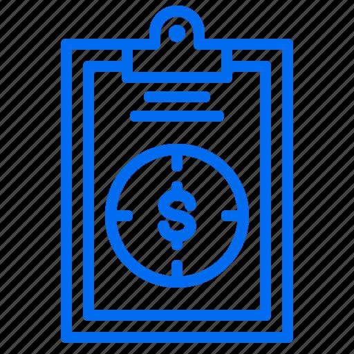 business, clipboard, money, profit, target icon