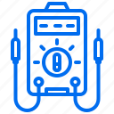 electric, multimeter, tool, voltage, voltmeter icon