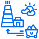 building, cart, mine, nuclear, plant, power, uranium icon