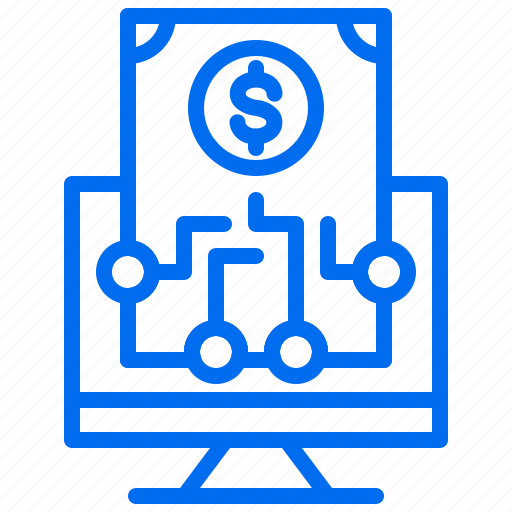 business, computer, investment, money, root icon