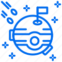 flag, meteor, moon, planet, saturn, space icon