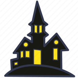 abandoned house, castle, evil, halloween, horror, scary house icon