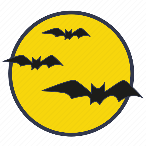 bats, evil, full moon, halloween, moon, night icon