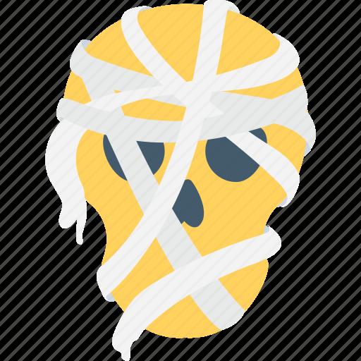 halloween, halloween mask, mummy face, scary, spooky icon