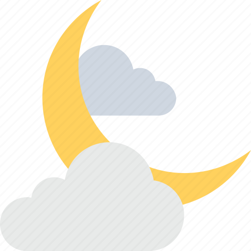 clouds, darkness, moon, night, weather icon