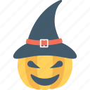 cap, halloween, pumpkin, witch, witch hat icon