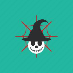 creepy, halloween, hat, skull, spooky, witch icon